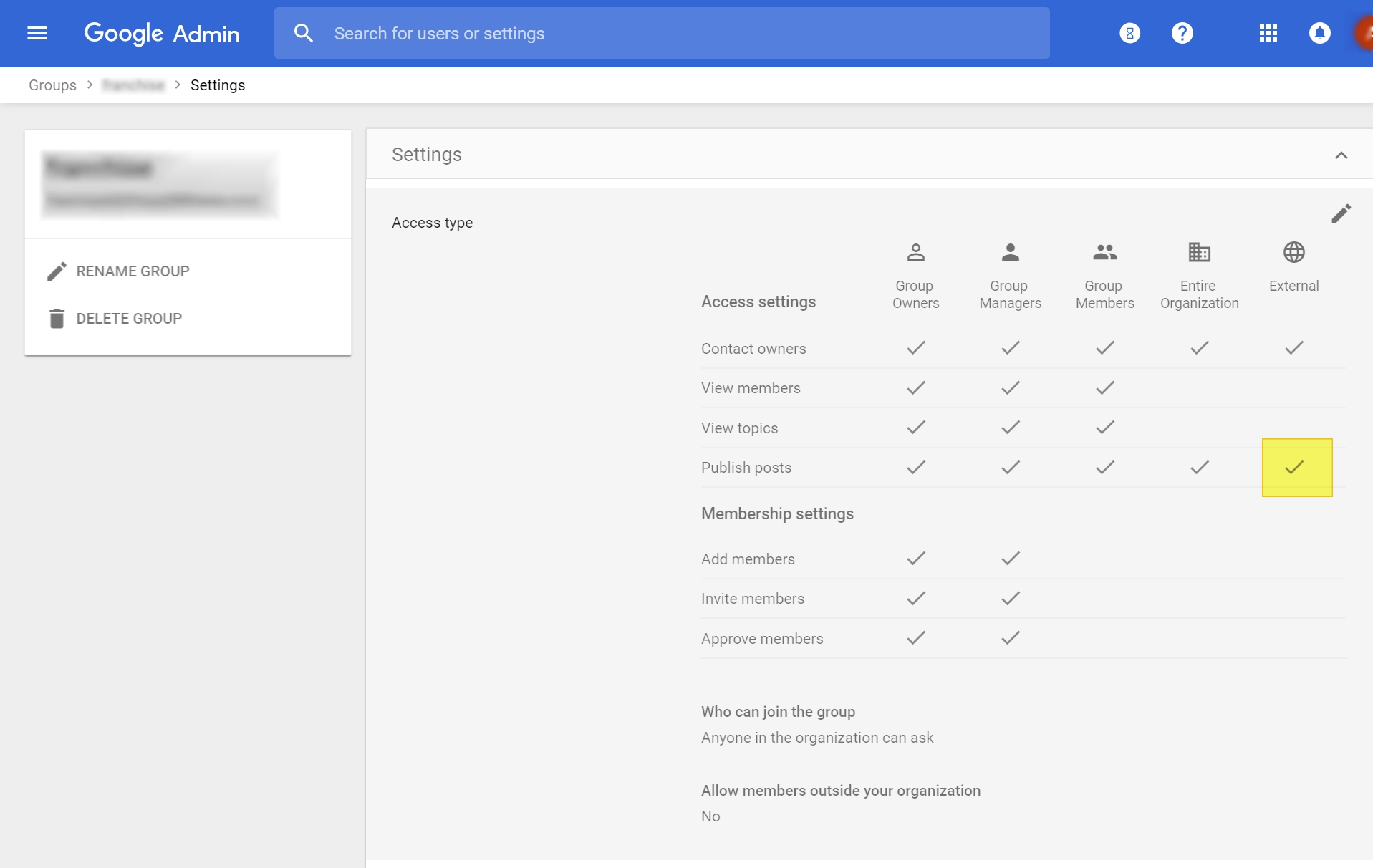 g suite group access